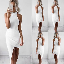 Sexy Womens Summer High Neck Bodycon Evening Party Cocktail Asymmetrical Dress