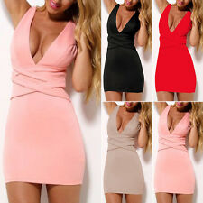 New Women Ladies Sleeveless Bandage V Neck Mini Slim Formal Party Bodycon Dress