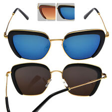Classic Vintage Style Reflective Mirror Wire Frame Sunglasses with FREE CASE