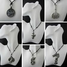 Dragon Pewter Pendant Necklace Adjustable Cord Choice 6 Designs