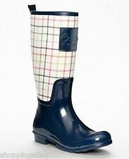 New in Box Coach Pearl Tattersal Navy Rubber Knee Boots Rainboots Shoes 11