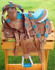 "10"" 12"" Med Oil + BLUE GATOR SEAT Bling +HSBP SET Western PONY MINI TRAIL Saddle"