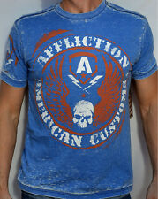 Affliction American Customs AC FLAG - Men's Biker Burnout T-Shirt - A7952 - Blue