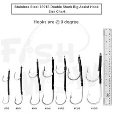 7691S Double Hook Stainless Steel Assist Rig 0 degree 7/0 8/0 9/0 11/0 12/0 13/0