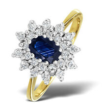 9k Gold 0.36ctw Diamond & Sapphire Cluster Ring Sizes F-Z Made in London
