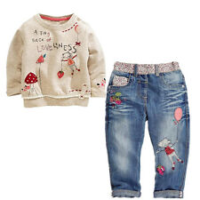 Baby Girls Long Sleeve T-shirt +Jeans Cotton Clothing Outfit fit 2-6Y