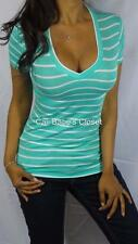 SEXY MINT WHITE V NECK LOW CUT CLEAVAGE PREPPY STRIPE CASUAL BASIC TEE TOP BT15