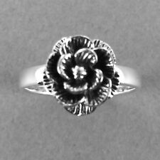 ROSE Silver Ring-Rose Flower Ring-925 Sterling Silver-Oxidized