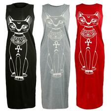 Womens Sleeveless Cat Print Boho Long Maxi Dress Cocktail Summer Beach Sundress