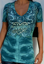 Sinful by Affliction - DESPINA - Woman's V-Neck T-Shirt w/ Rhinestones - S2841