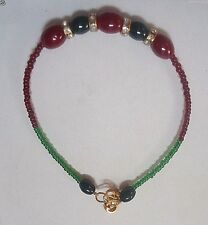 Ruby Red & Emerald Rakhi/Bracelet With Clear Crystal Stones Knotted With Beads