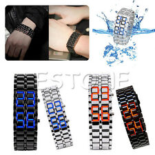 Women's Men's Volcanic Lava Iron Samurai Metal Faceless Bracelet Sport LED Watch
