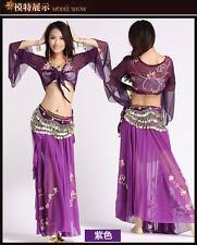 2016 Belly Dance Embroidered Diamond Top+Diamond Skirt Dancing Dress Costume