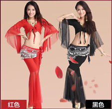 Top Fashion  Belly Dance Costumes 3pcs set Bra+Hip Belt+Bubble Skirt Full Outfit