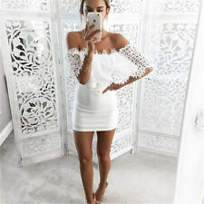 Sexy Eyelash Lace Embroidery Off Shoulder Tube Bodycon Club Party Cocktail Dress