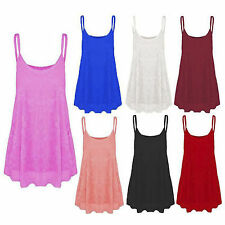 New Womens Ladies Floral Lace Mesh Camisole Strappy Cami Flared Swing Vest Top
