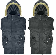 Ladies Gillet Bodywarmer Womens Sleeveless Coat Winter Fur Hood Jacket Padded