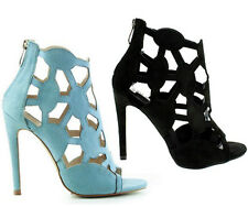 Cape Robbin Aqua Black Peep toe Pump Cut-out Diamond High Heels Party Women shoe