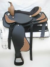 """New"" western synthetic saddle BLACK with attractive accessories !!! in 4 sizes"