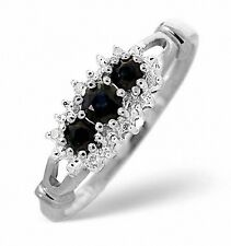 9K White Gold Diamond & 0.34ct Sapphire Trilogy Ring  Size K - S Made in London
