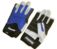 SAILING GLOVES-TWO FINGERS CUT  -WHITE AMARA AND BLACK AMARA ON REINFORCED PALM