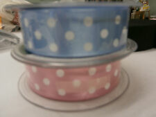 BERISFORD SATIN POLKA DOT 25mm RIBBON - 2 COLOURS