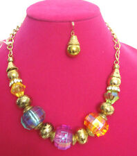Multi-Color Bib Necklace & Earrings Set Iridescent Beads Goldtone Earring NEW