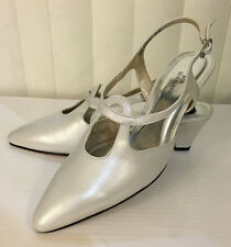 Ros Hommerson Prize White Pearl Slingback Heel Leather Dressy Sandals Size 5-8.5