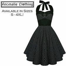 Black and White Small Polka Dot Ashley Dress - 1950s Retro Rockabilly Pinup Goth