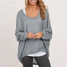 Fashion Women Blouse Batwing Long Sleeve Casual Loose Solid Tops Shirt O-neck