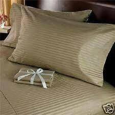 Scala Bedding 800-TC Taupe Stripe Soft Designer Duvet Cover & Set 100% Cotton