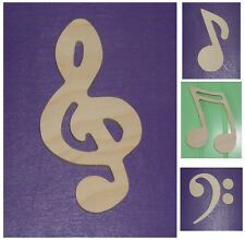 """Wooden Shapes 12"""" Size Unpainted Wood Music Notes Musical Symbols Wall Decor"""