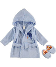 """Luvable Friends """"Sharky"""" Robe & Slippers Set (Sizes 0M - 9M)"""