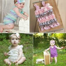 Newborn Infant Baby Girls Lace Posh Petti Ruffle Rompers TUTU 0-3Y Baby Clothes