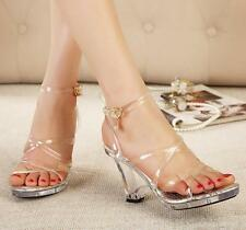 Womens Sexy Transparent Lady's High stiletto Heels ankle Strappy Sandals Shoes