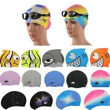 Cute Cartoon Fish Silicone Swimming Bathing Caps Kids Boys Girls Waterproof Caps