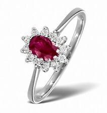 White Gold 0.18ctw Diamond & Ruby Cluster Ring  Sizes F - Z Made in London