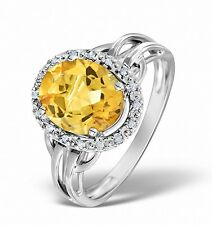 9K White Gold 0.08ct Diamond & 2.44ct Citrine Ring Size K-S Made in London
