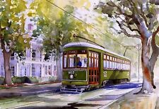 New Orleans Streetcar St. Charles Line Garden District Watercolor Notecards