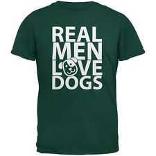 Valentine's Day - Real Men Love Dogs Dark Green Adult T-Shirt