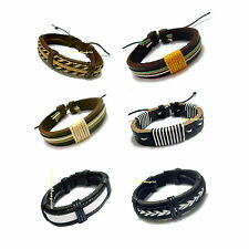 14mm Trendy Multi Black Brown Designer Style Leather Bracelet Wristband Unisex