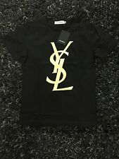 Yves Saint Laurent Basic T-shirt with YSL Gold Logo Summer Sale 55% OFF