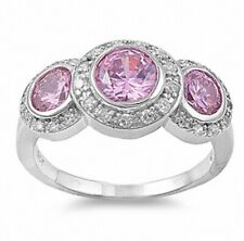 3 Stone Engagement Halo Ring 925 Sterling Silver 3ct Rose Russian Ice Russian CZ