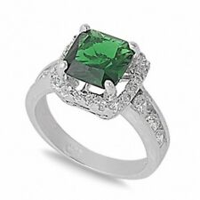 Halo Wedding Engagement Anniversary Ring Sterling Silver 2CT Emerald Russian CZ