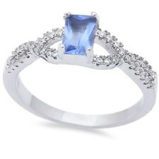 Wedding Engagement Crisscross Ring 925 Sterling Silver 0.60CT CZ Blue Tanzanite