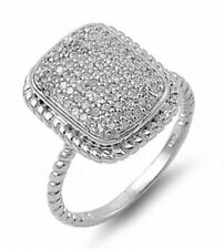 Wedding Engagement Band Ring 925 Sterling Silver Rectangle Shape Russian CZ