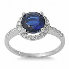 Dazzling Wedding Engagement Ring 925 Sterling Silver 2.20CT Sapphire Russian CZ