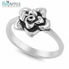 Silver Rose Flower Promise Engagement Womans Band Ring Solid 925 Sterling Silver