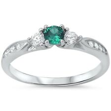 3 Stone Wedding Engagement Ring 925 Sterling Silver 1.30CT Emerald Clear CZ