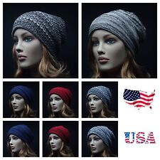 Knit  Baggy Beanie Caps Vintage Hat Ski Hiking Hunting Slouch Reverse Hat Unisex